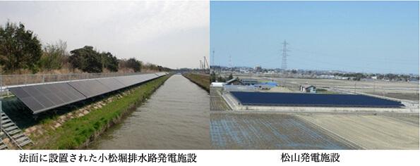 法面に設置された小松堀排水路発電施設 松山発電施設