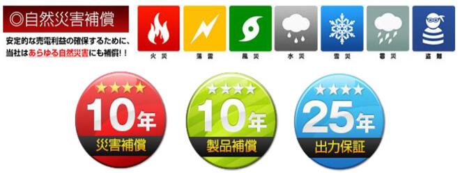 火災、落雷、風災、水災、雹災、雪災、盗難 10年災害補償 10年製品補償 25年出力保証