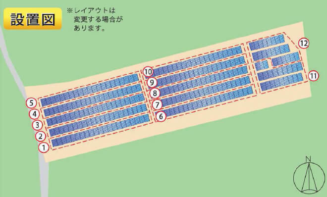 【36円・3月連系】鹿児島県薩摩川内市 56.25kW 12区画一括 設置図