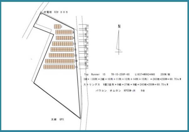 【12月連系・28円】岐阜県中津川 60.75kW 区画配置図