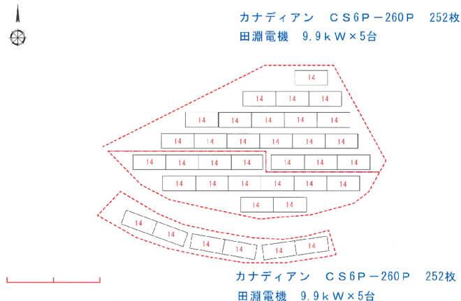 【29円・2月連系】65.52kW 兵庫県佐用郡 パネル配置図