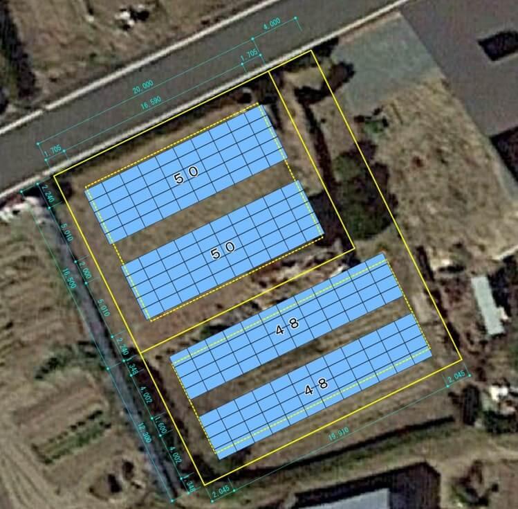 【21円】低圧53.9kW フェンス込み 三重県津市 配置図