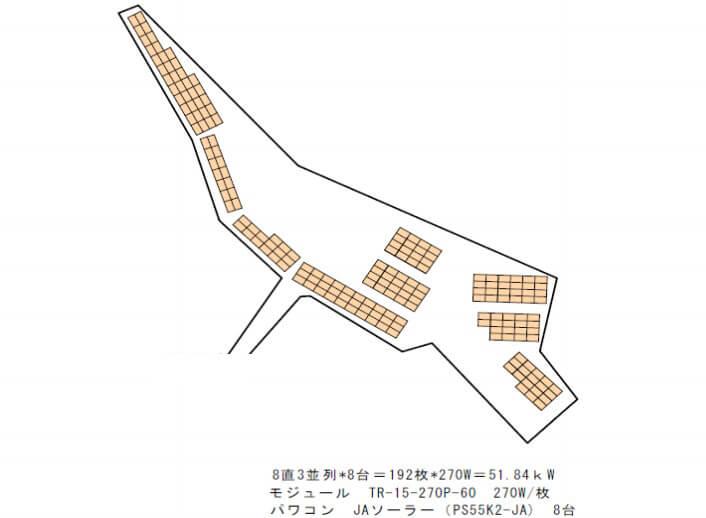 【24円】低圧51.84kW 出力抑制なし 岐阜県土岐市 配置図