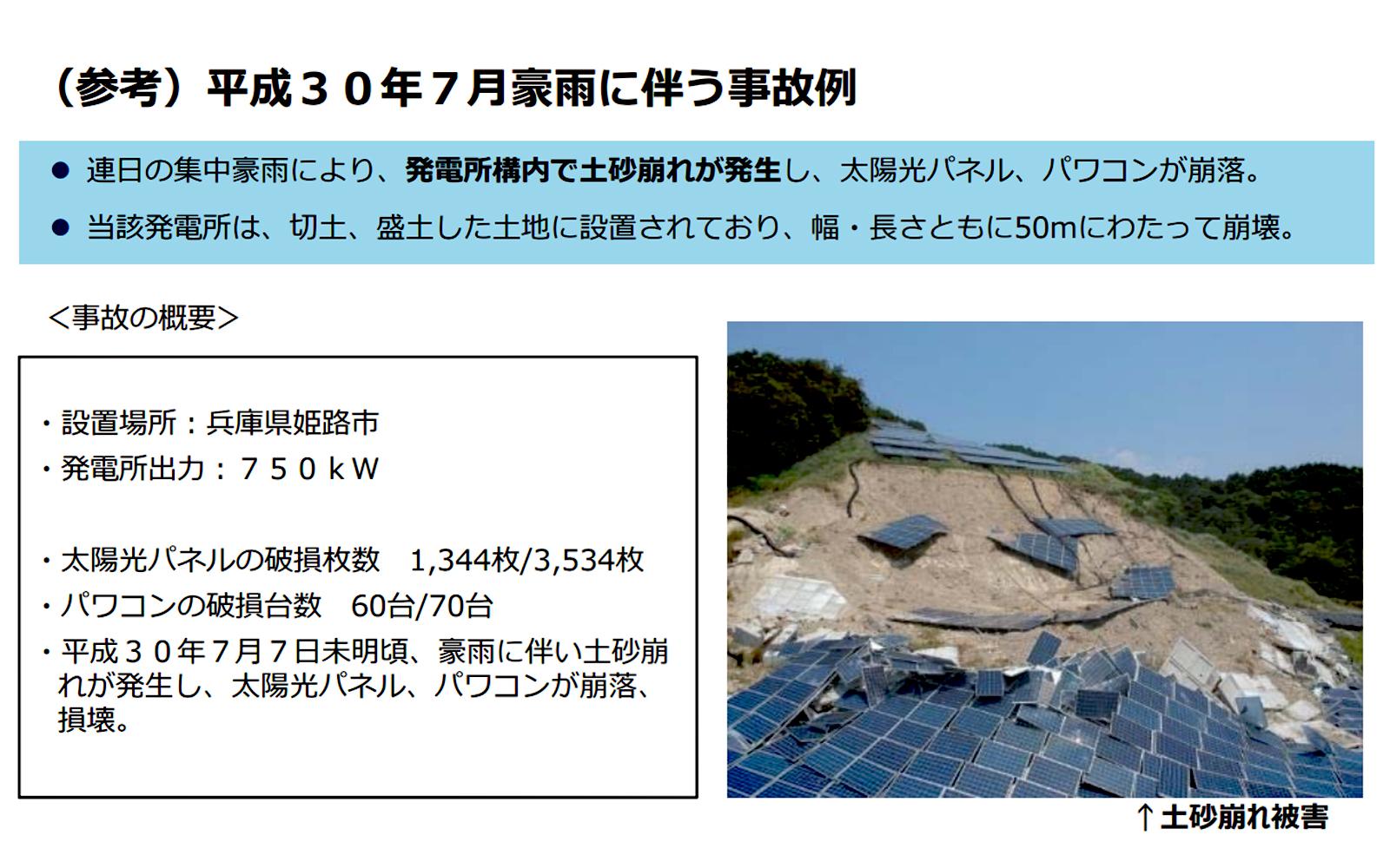 図 太陽光発電所の事故例(出典:経済産業省 第14回新エネルギー発電設備事故対応・構造強度ワーキンググループ 資料1